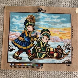 Vintage 70's Nordic needlepoint Made in Israel